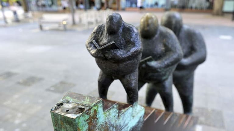Petrie Plaza's <i>On the staircase</i> sculpture has been vandalised again.