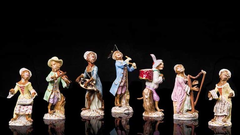 Meissen monkey orchestra (Affencapelle), 1863-1900, porcelain, glazes, gold lustre. Photo: Peter Casamento/Janet Boschen