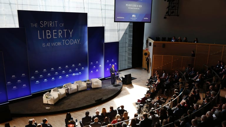 Former US President George W. Bush speaks at a forum sponsored by the George W. Bush Institute in New York.