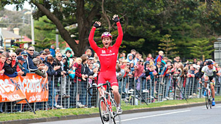 Rhys Pollock wins the Melbourne to Warrnambool Classic in tough conditions yesterday.