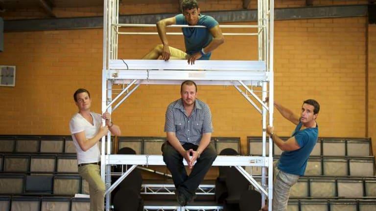 Director Chris Baldock (centre) with Mockingbird Theatre actors.