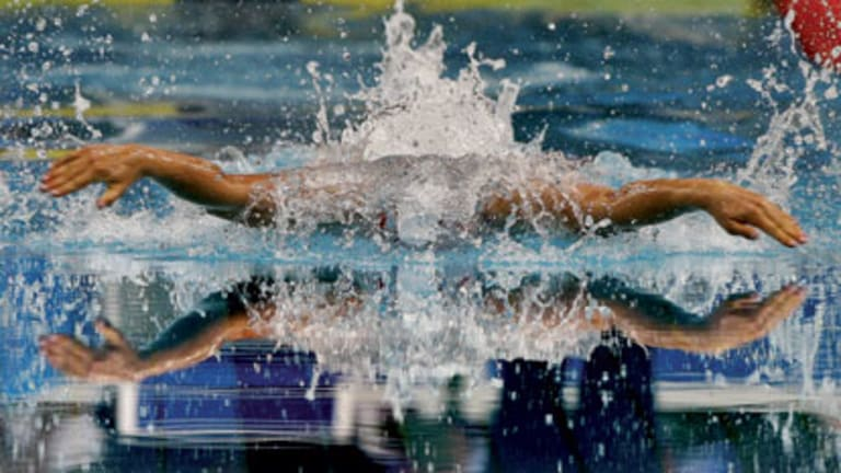 Stephanie Rice powers down the Sydney Olympic Park pool in an individual medley race ... she holds the 400 metres world record.