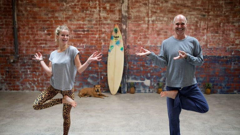 Striking a pose: Steve Ross, former guitarist and founder of hip-hop yoga, with Sammy Veall.