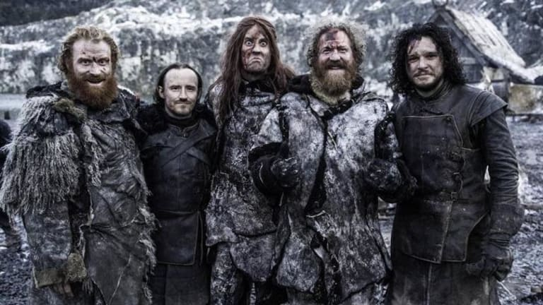 Heavy metal band Mastodon pose with Kit Harrington on the set of <i>Game of Thrones</i>.