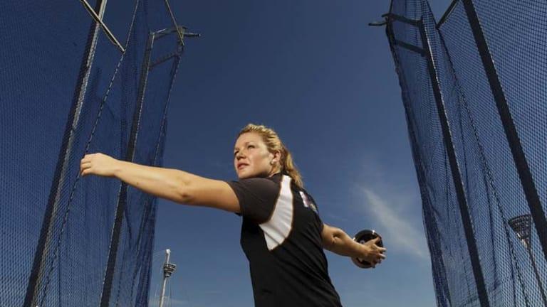 Refining her throw .... Dani Samuels.