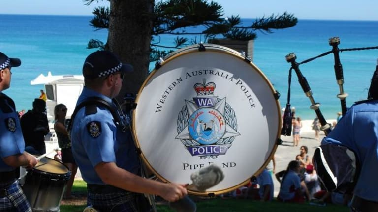 The pipes and drums could be heard at Cottesloe Beach for Sculptures By the Sea.