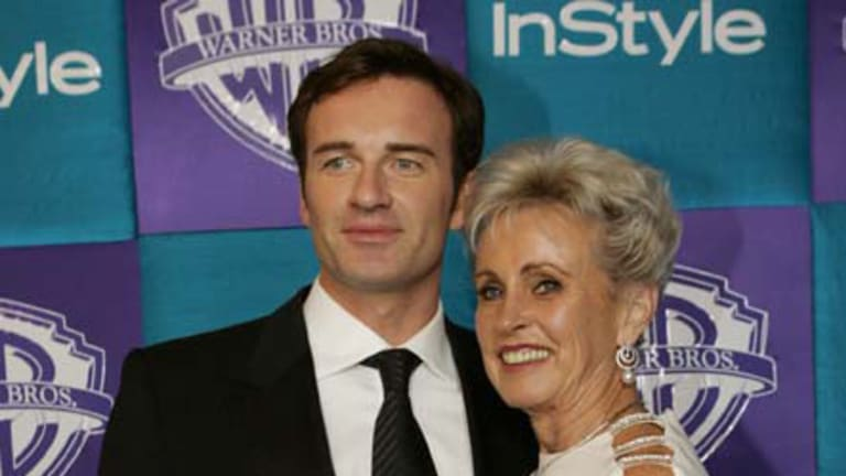 Actor Julian McMahon poses with his mother Lady Sonia McMahon in Beverly Hills, California in 2005.