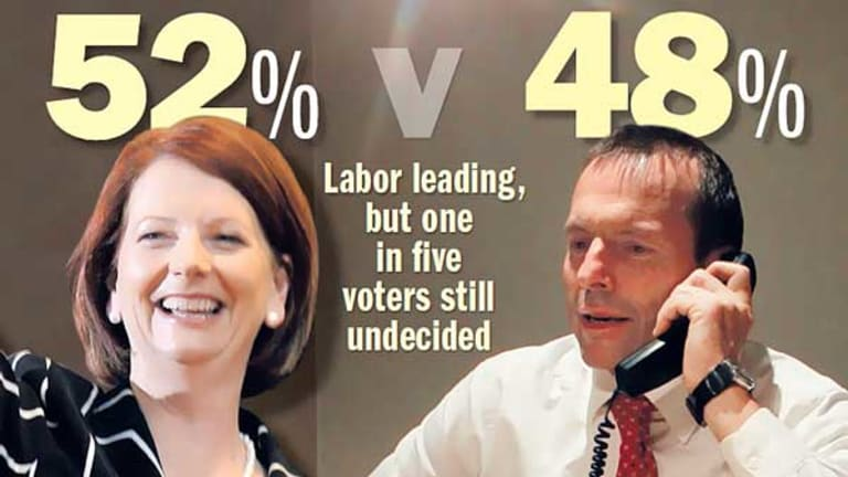 Julia Gillard and Tony Abbott in the final stages of their election campaigns. <i>Pictures: AP, Glen McCurtayne</i>