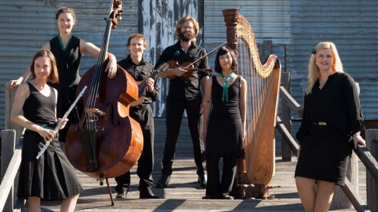 The Griffyn Ensemble: Kiri Sollis on flute; Holly Downes on double bass; Michael Sollis, director; Chris Stone on violin; Laura Tanata on harp; Susan Ellis on vocals.