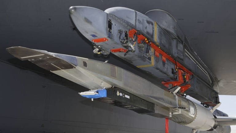 US Air Force photo shows the X-51A WaveRider hypersonic flight test vehicle.