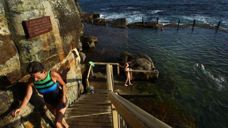 """Some swimmers went to complain to the surf lifesavers on the beach, someone else called the police"" ... early morning swimmers at McIvers Ladies Baths in Coogee."