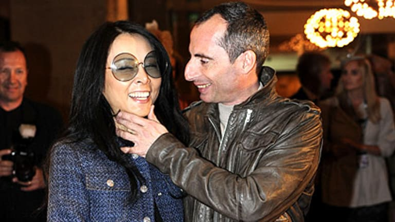 Melbourne Cup-winning jockey Gerald Mosse is joined at a celebratory lunch yesterday by girlfriend Lisa Young.