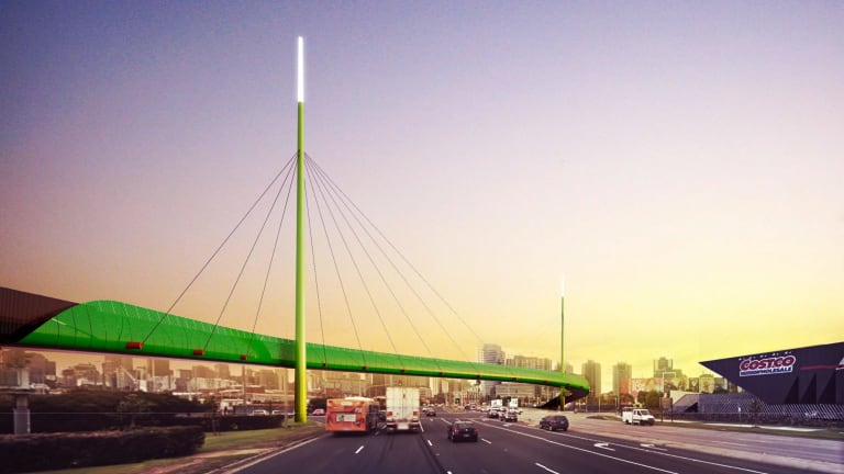 Pedestrian and cycle bridge over Footscray Road to Docklands. Artist's impression. Source: Western Distributor Authority