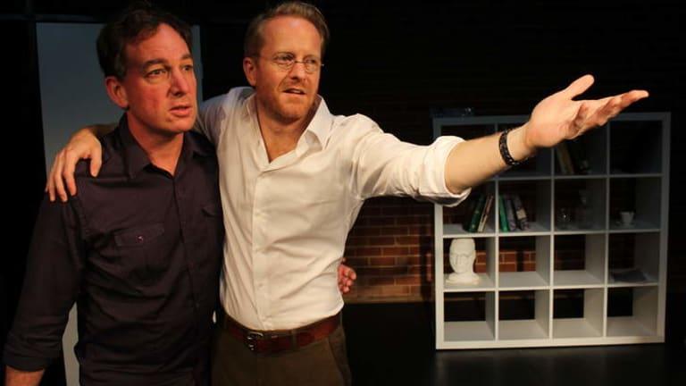 James Scott (as Langley) and Doug Chapman (as Dietrich Bonhoeffer) in <I>Lies, Love and Hitler</I>.