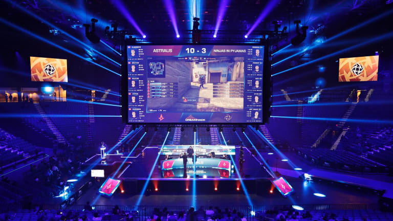 eSports is sometimes played in stadiums. Here, teams compete against each other playing 'Counter-Strike: Global Offensive'.