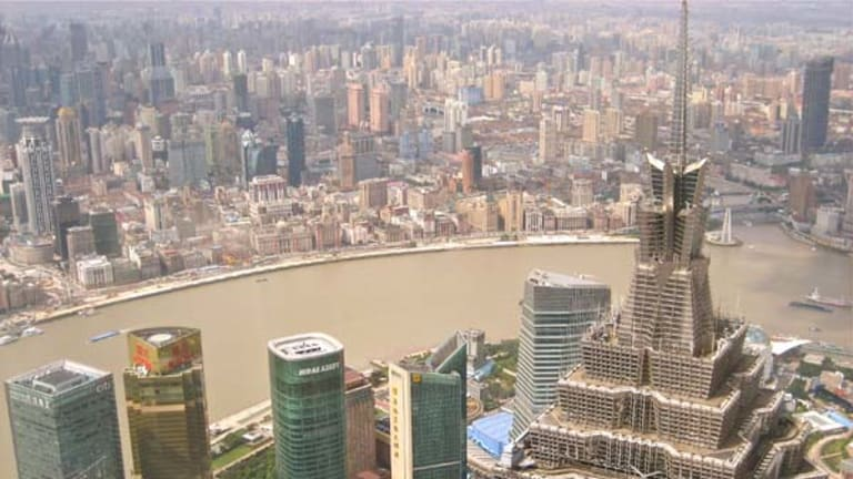 Shanghai overlooking the Bund from Pudong.