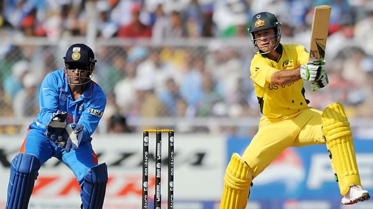 Australian captain Ricky Ponting cuts during his last innings, an heroic centrury against India in the World  Cup quarter-final loss.