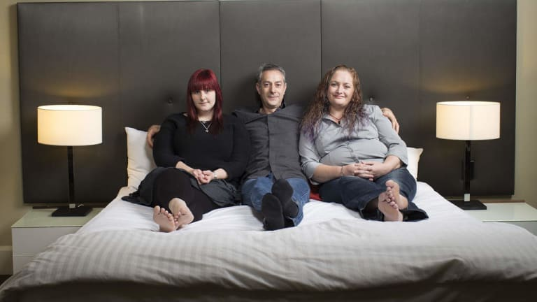Intimate affair … Darren Ramsey with his fellow polyamorists – and lovers – Jennifer Lee (at left) and Melissa Coller.