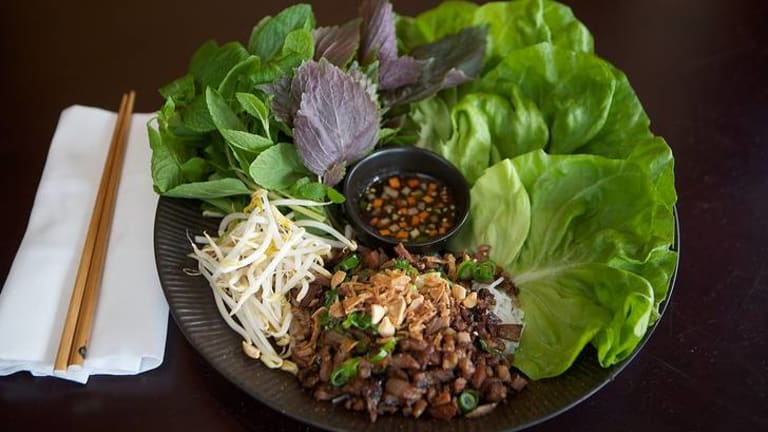 Red Lantern's go-to dish ... bun thit nuong, chargrilled pork marinated in honey and shallot with fresh herbs and lettuce.