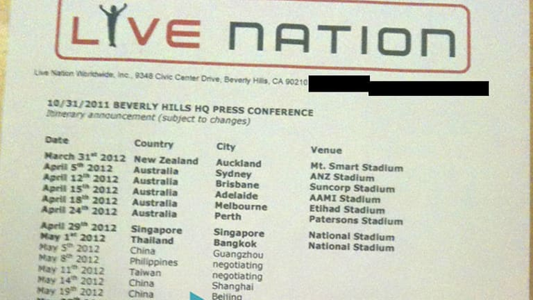 A leaked email that was sent to a Madonna fan site in the US contained this photo of the unconfirmed 2012 tour schedule printed on an official letterhead from the promoter.