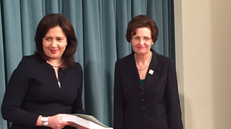 Premier Annastacia Palaszczuk receives the report into the closure of Wacol's Barrett Adolescent Centre from Commissioner Margaret Wilson QC.