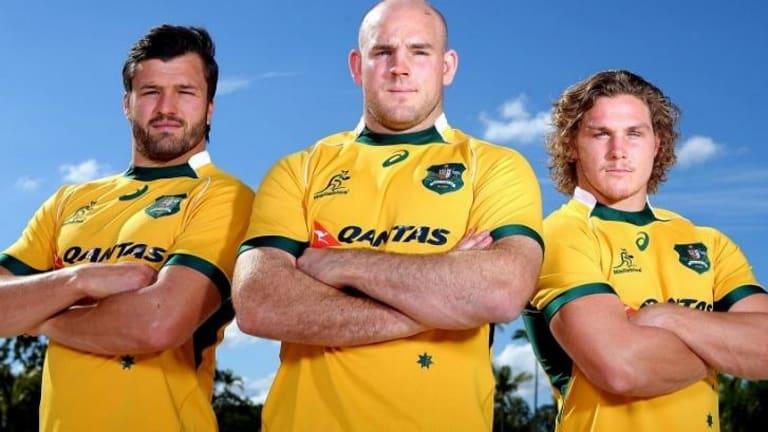 Leadership team: Moore with Adam Ashley-Cooper and Michael Hooper.
