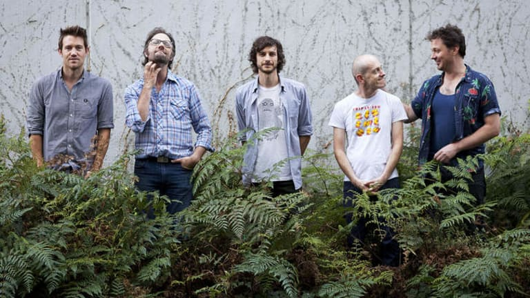 Music men: (from left) Eddie Perfect, Scott Edgar, Wally De Backer, Simon Hall and Steven Gates.