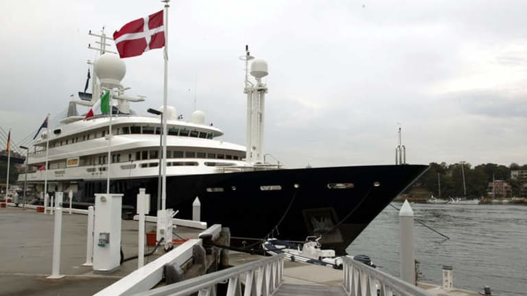 One of the world's largest: Reg Grundy's yacht Boadicea was sold to controversial French businessman Bernard Tapie.