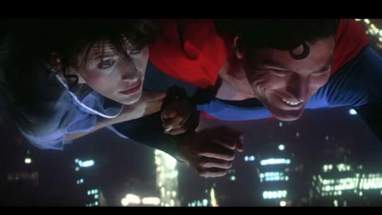 Margot Kidder with Christopher Reeve in Superman: The Movie (1978). She later forgot to warn her young daughter of the scene where she dies.