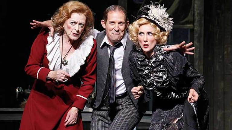 Nancye Hayes (Miss Hannigan), Todd McKenney (Rooster) and Chloë Dallimore (Lily) lit up the stage at Burswood for opening night of Annie.