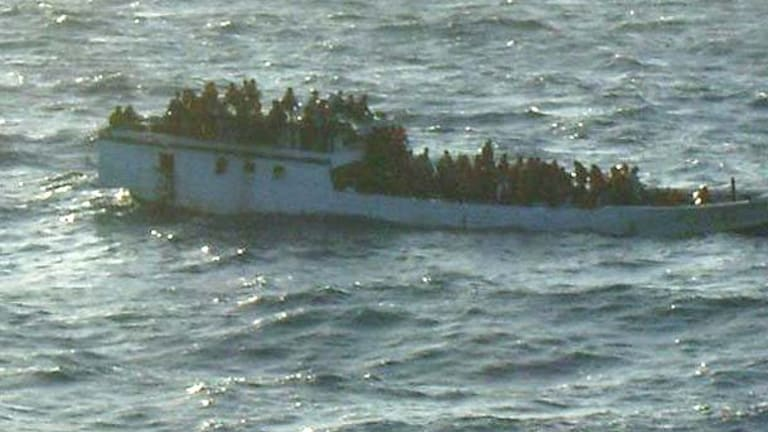The overloaded boat before it capsized today.