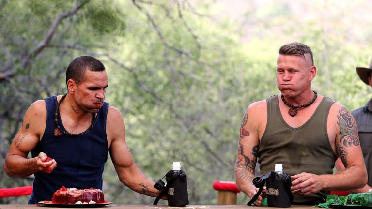Mundine was in the jungle with boxing rival Danny Green.