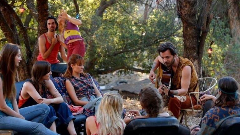 Downward spiral: Gethin Anthony as Charles Manson (second from right) in <i>Aquarius</i>.