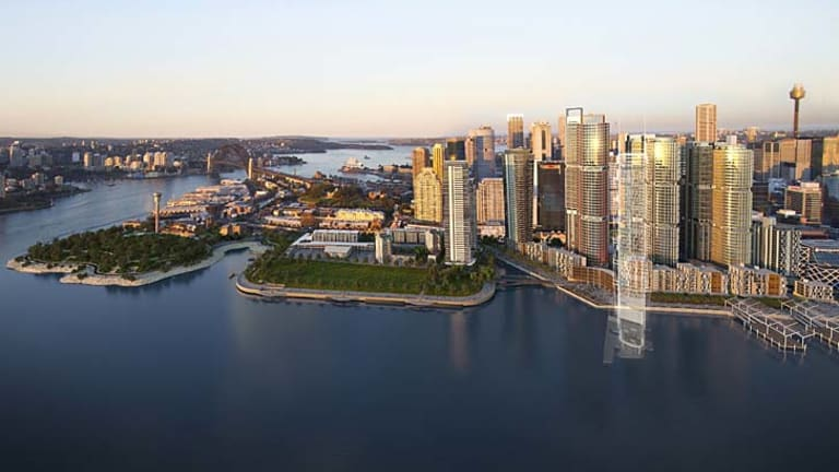 Barangaroo ... soon to inherit a hotel and casino. Above, an artist impression of the site.