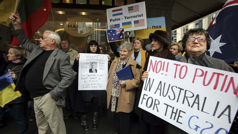 Malaysian MH17 Flight story Ukrainian Community protest outside the QVB in Sydney.