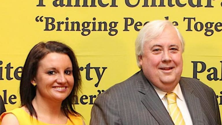 Disunited: Palmer United Party leader Clive Palmer has refused to back senator Jacqui Lambie's comments regarding the burqa.