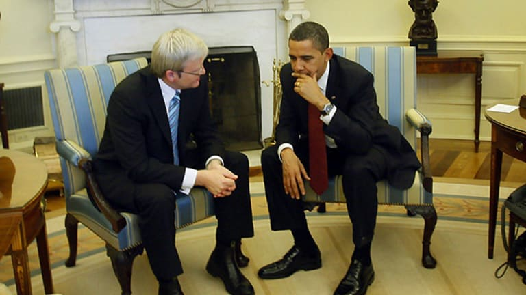 Mr Rudd and Mr Obama deep in discussion at the White House today.