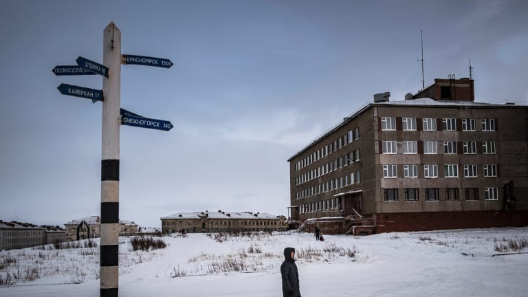 A long way from nowhere: Norilsk is deemed to be Russia's coldest outpost but still attracts those in pursuit of high wages in the mines.