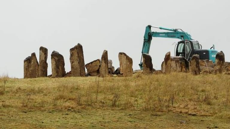 Robbie and Tracey Wallace are building a replica of Stonehenge on their property at Bywong, near the intersection of the Federal Highway and Macs Reef Road.