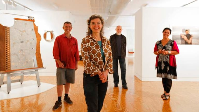 At M16 Artspace for the exhibition Sacred are  (from left) Artists Marcus Tutton, Mary Kayser,  Bruce Tunks and Fatima Killeen.