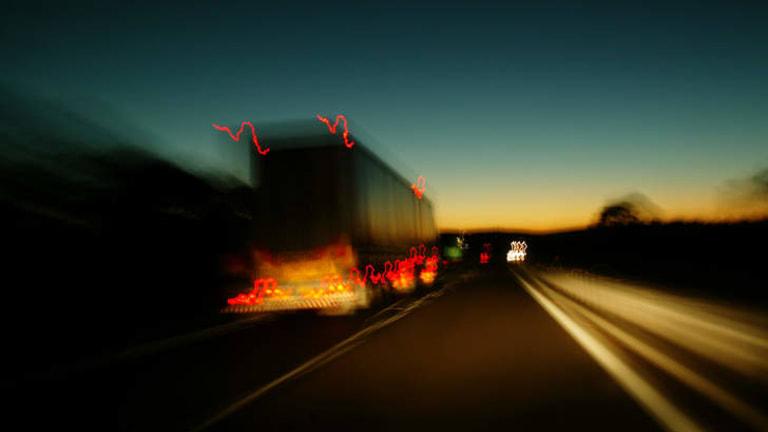 Semi-trailer on the freeway.