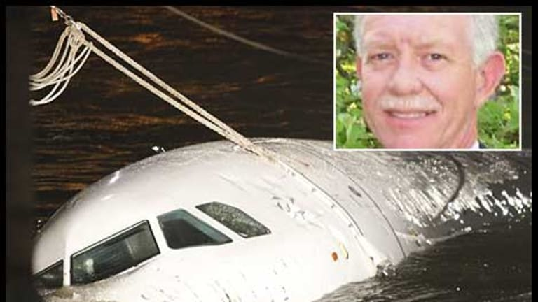 "The Airbus A320 sinks in the Hudson after Captain Chesley Burnett ""Sully"" Sullenberger III pulled off an amazing crash landing on the river, saving the lives of all on board."