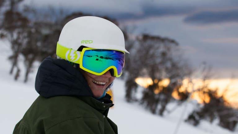 Joany Badenhorst snowboards through Perisher Valley.