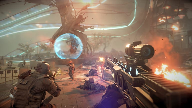 A screenshot from the singleplayer campaign of <i>Killzone: Shadow Fall</i>.
