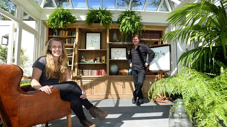 Designers Carolyn and Joby Blackman in their library garden.
