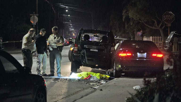 The scene of the shooting in Santa Barbara and the car used by the shooter.