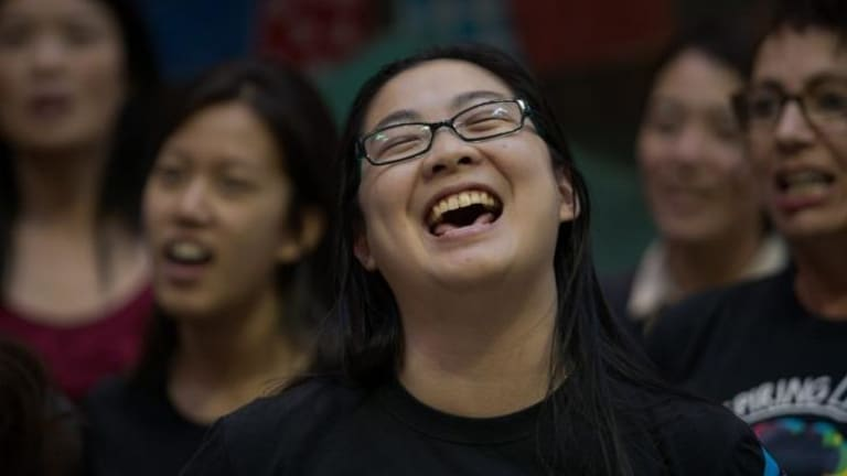 Hwan-yi choo during a rehearsal of the With One Voice choir.