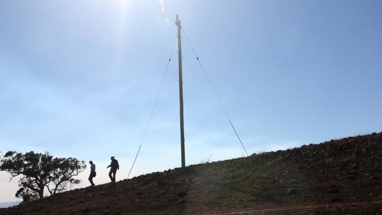 The power pole at the site of the start of the Kilmore bushfire.