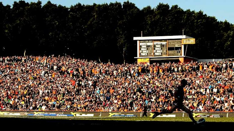 Packed: The Hill at Leichardt Oval during better times.