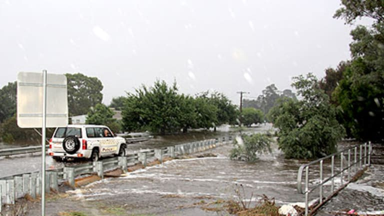 Water threatens to cover King Street, Beaufort.